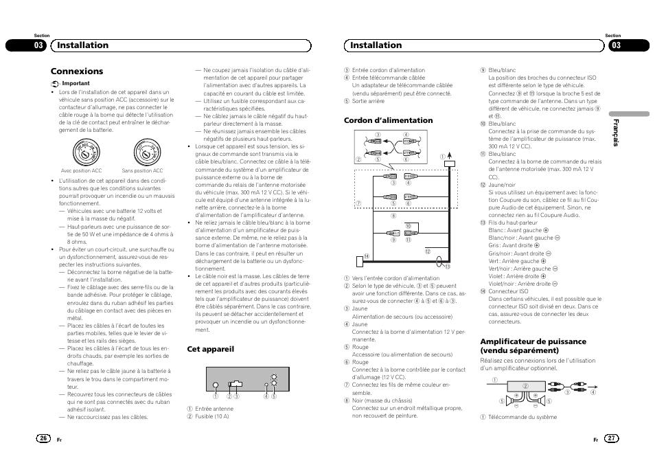 connexions 03 installation pioneer deh 1300mp user manual page rh manualsdir com Pioneer Deh 1300Mp Wiring Harness Pioneer Deh 1300Mp Wiring Harness