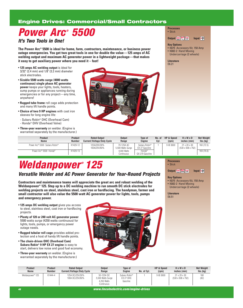Power arc, Weldanpower, It's two tools in one | Engine drives: commercial/