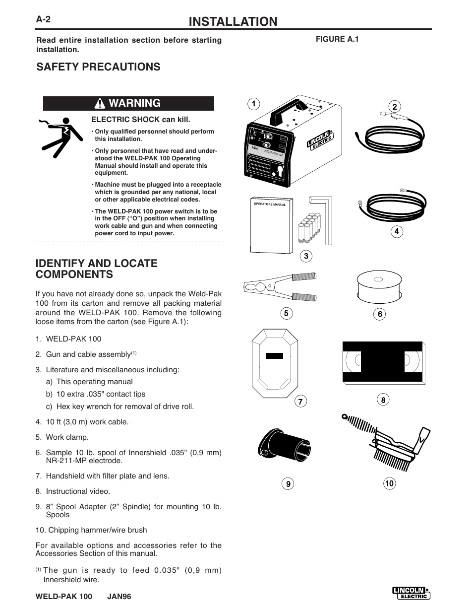 Installation, Safety precautions identify and locate components, Warning | Lincoln  Electric WELD-PACK 100 PLUS IM546 User Manual | Page 10 / 60