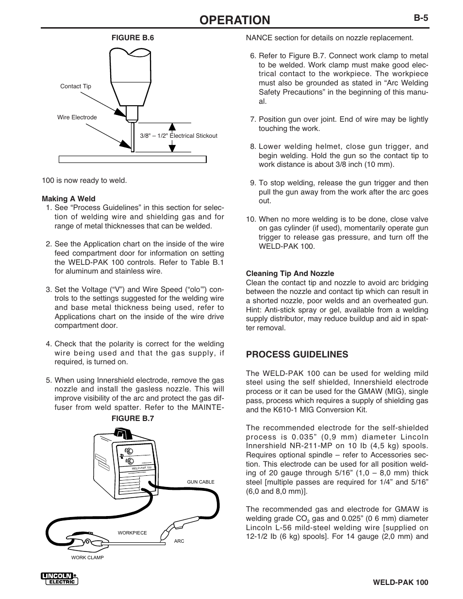 Operation, Process guidelines | Lincoln Electric WELD-PACK 100 ...
