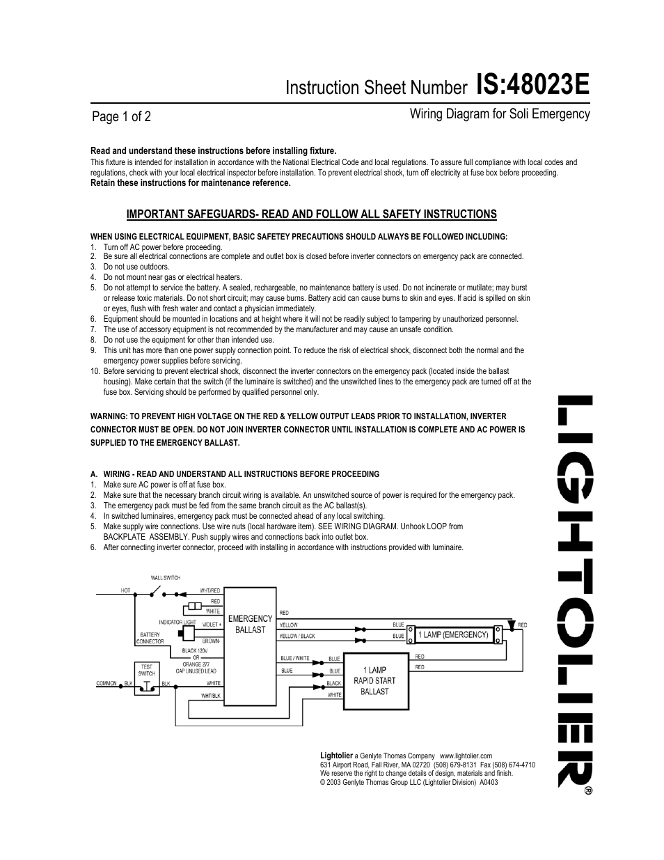 lightolier wiring diagram for soli emergency 48023e user manual 2 rh manualsdir com 3-Way Switch Wiring Diagram Simple Wiring Diagrams
