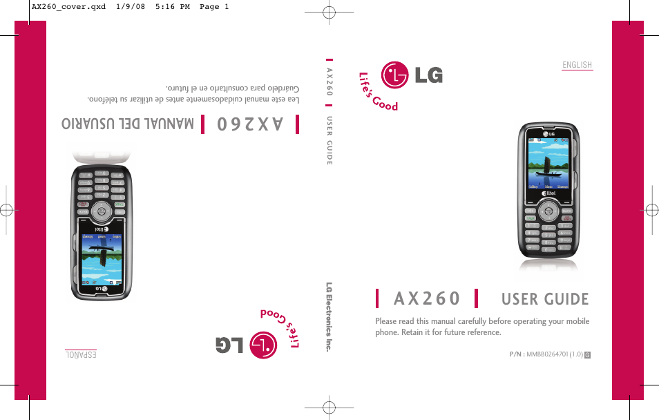 lg ax260 user manual 115 pages rh manualsdir com LG Touch Phone Operating Manual LG Instruction Manual