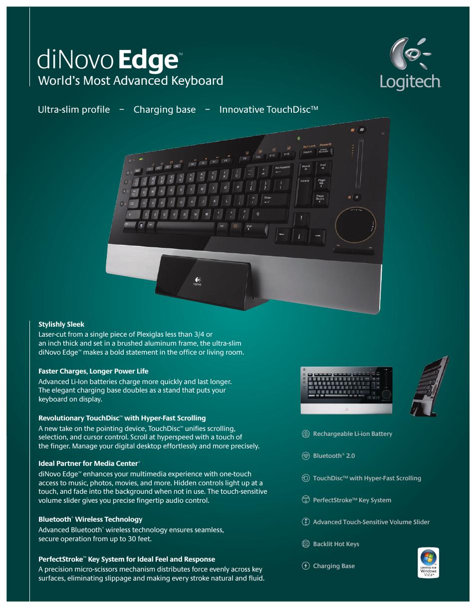 Logitech diNovo Edge User Manual   2 pages