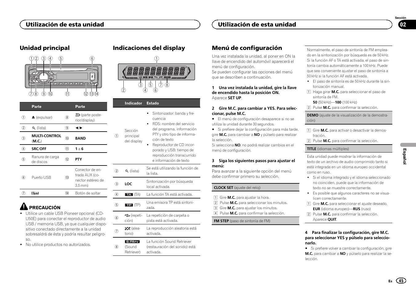 unidad principal  indicaciones del display  men u00fa de