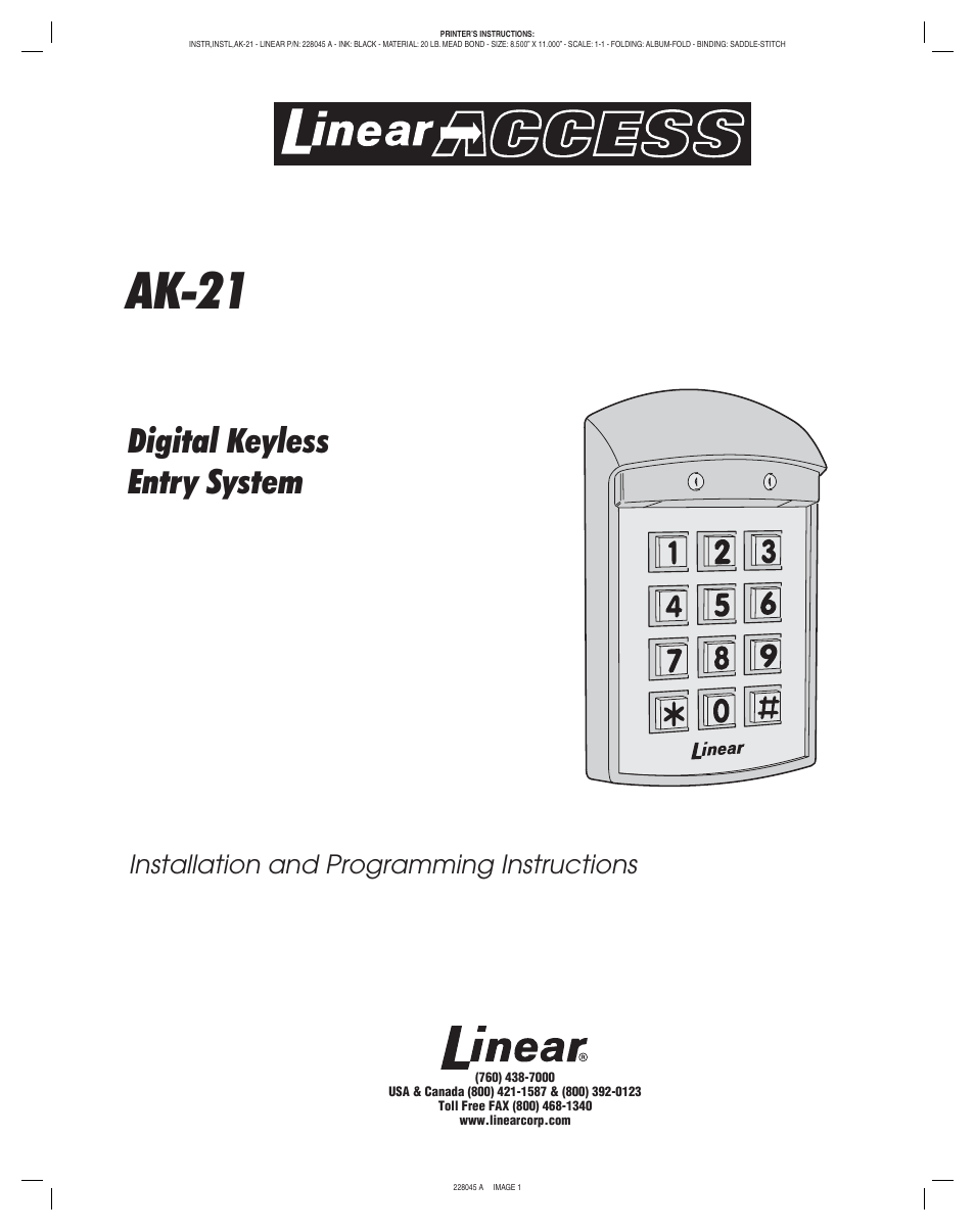 Access Instr linear access ak-21 user manual | 8 pages