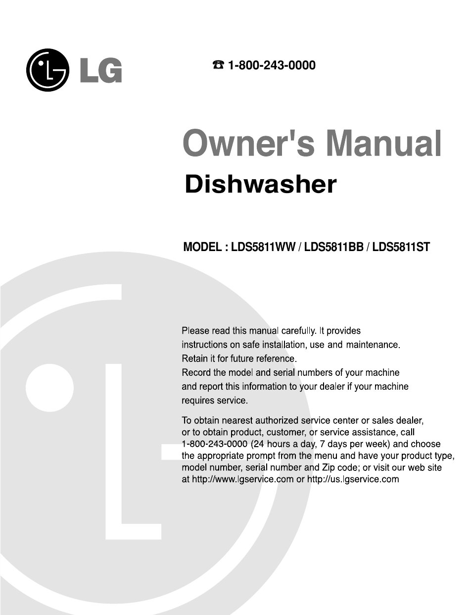 lg lds5811st user manual 44 pages also for lds5811ww lds5811bb rh manualsdir com lg dishwasher lds5811st parts list LG Dishwasher Dw-Ts610 User Manual