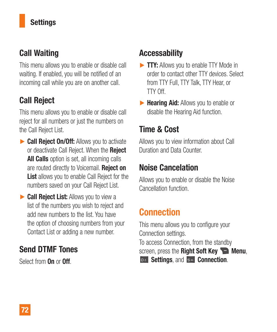 Call waiting, Call reject, Send dtmf tones | LG A340 User Manual