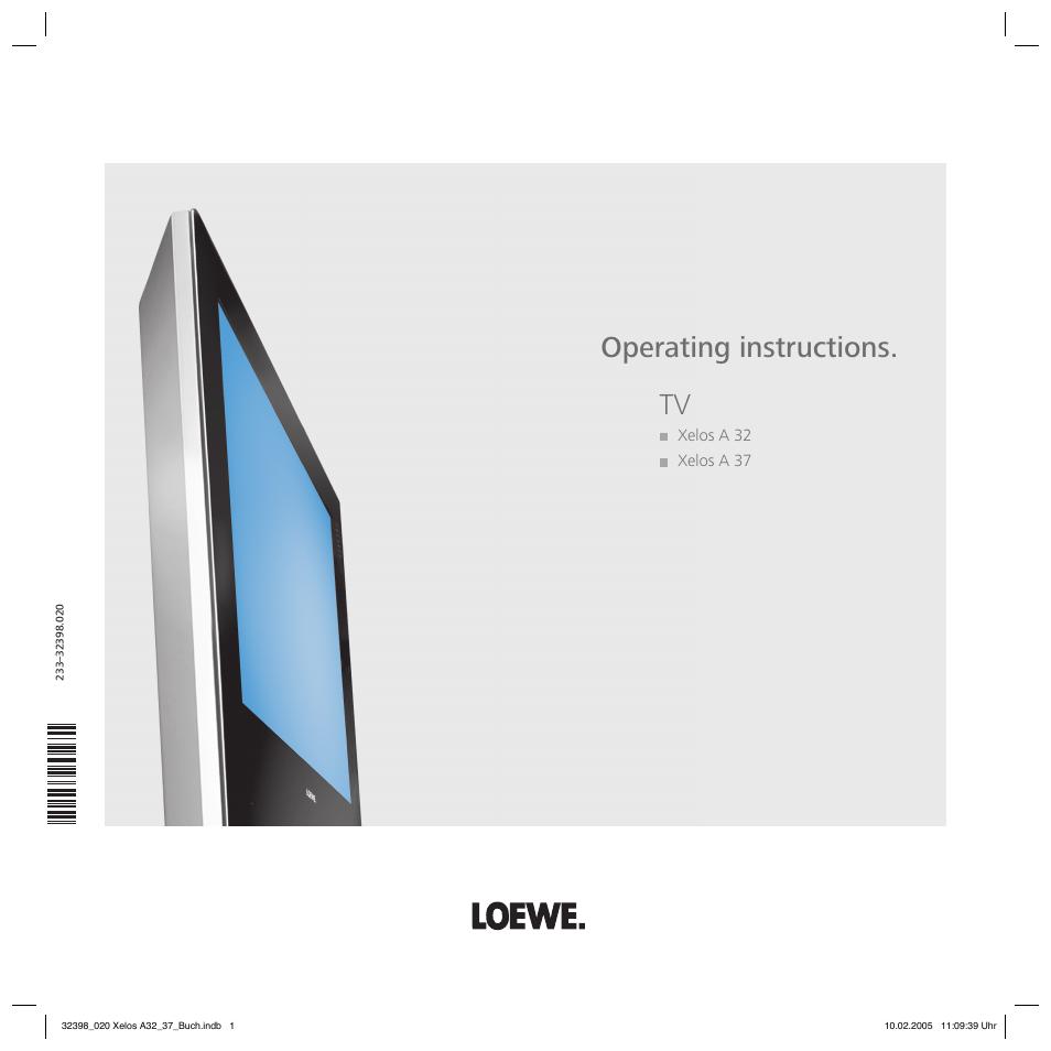 loewe xelos a 37 user manual 34 pages rh manualsdir com loewe xelos a37 service manual loewe xelos a32 manual