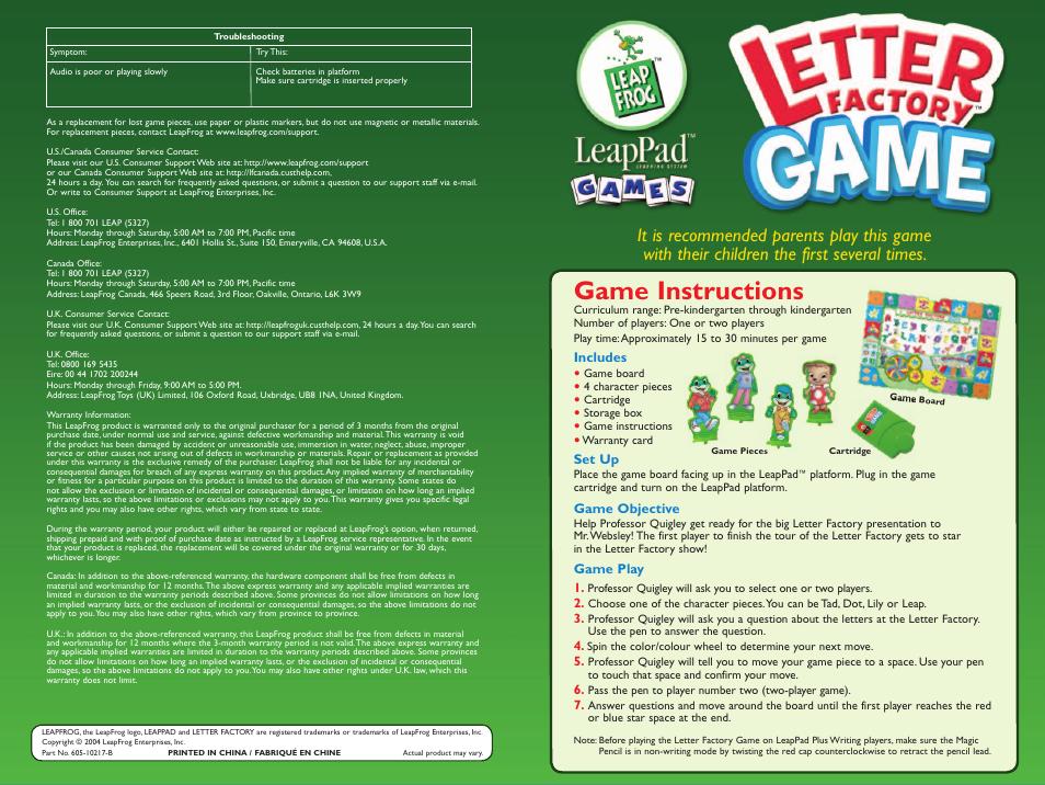 leapfrog leap frog letter factory game 605 10217 b user manual 2 pages rh manualsdir com LeapFrog Logo LeapFrog Toys
