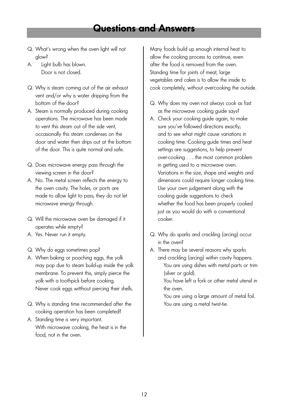 Questions and answers | LG MS-192W User Manual | Page 12 / 14