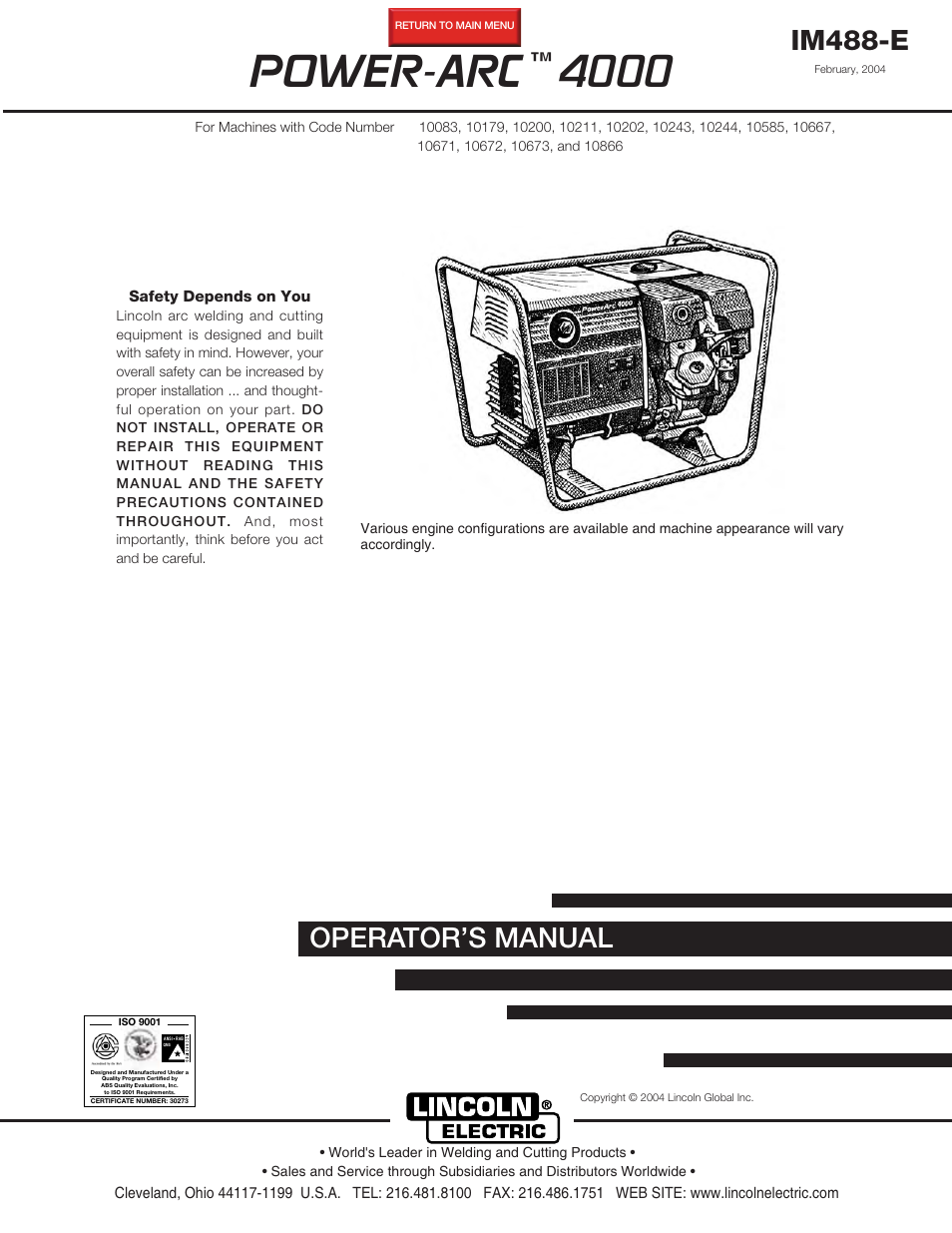 Lincoln Electric Power Arc 4000 User Manual 52 Pages Diagram And Parts List For Craftsman Welderparts Model 113201440