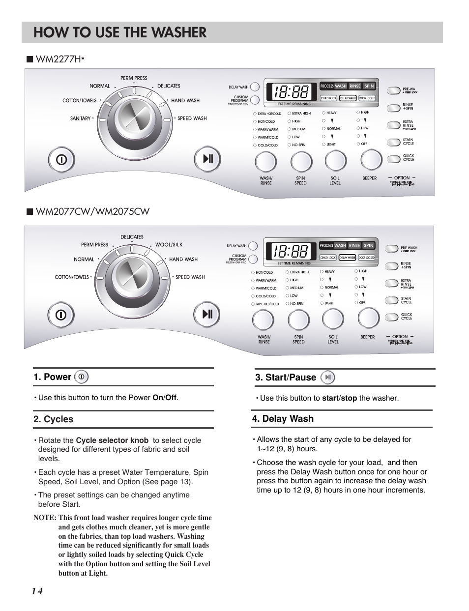 how to use the washer lg wm2277h series user manual page 16 50 rh manualsdir com LG Tromm Steam Washer Dryer Combo LG Washer Owner's Manual