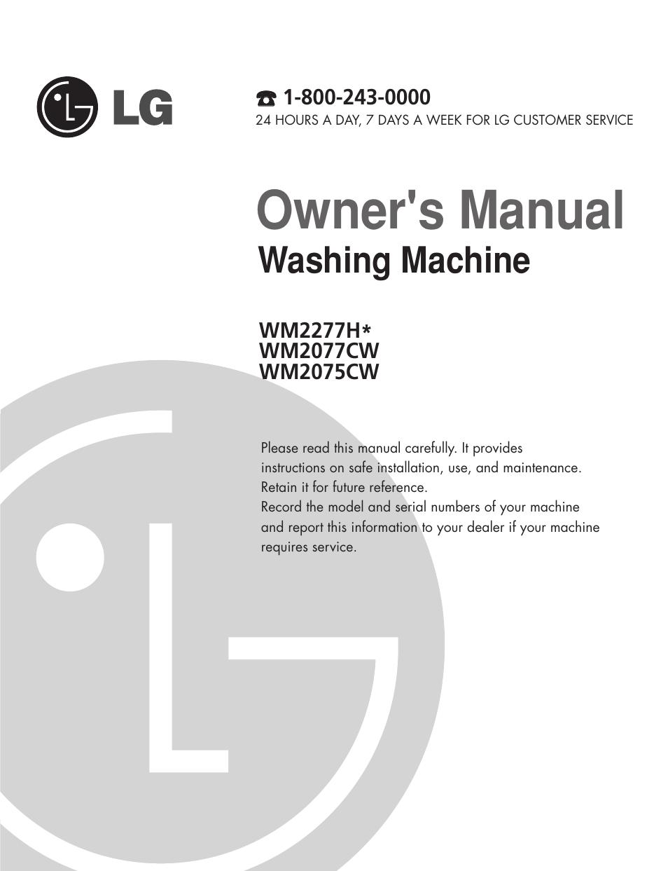 Owner's manual, Washing machine   LG WM2277H series User Manual   Page 3 /  50