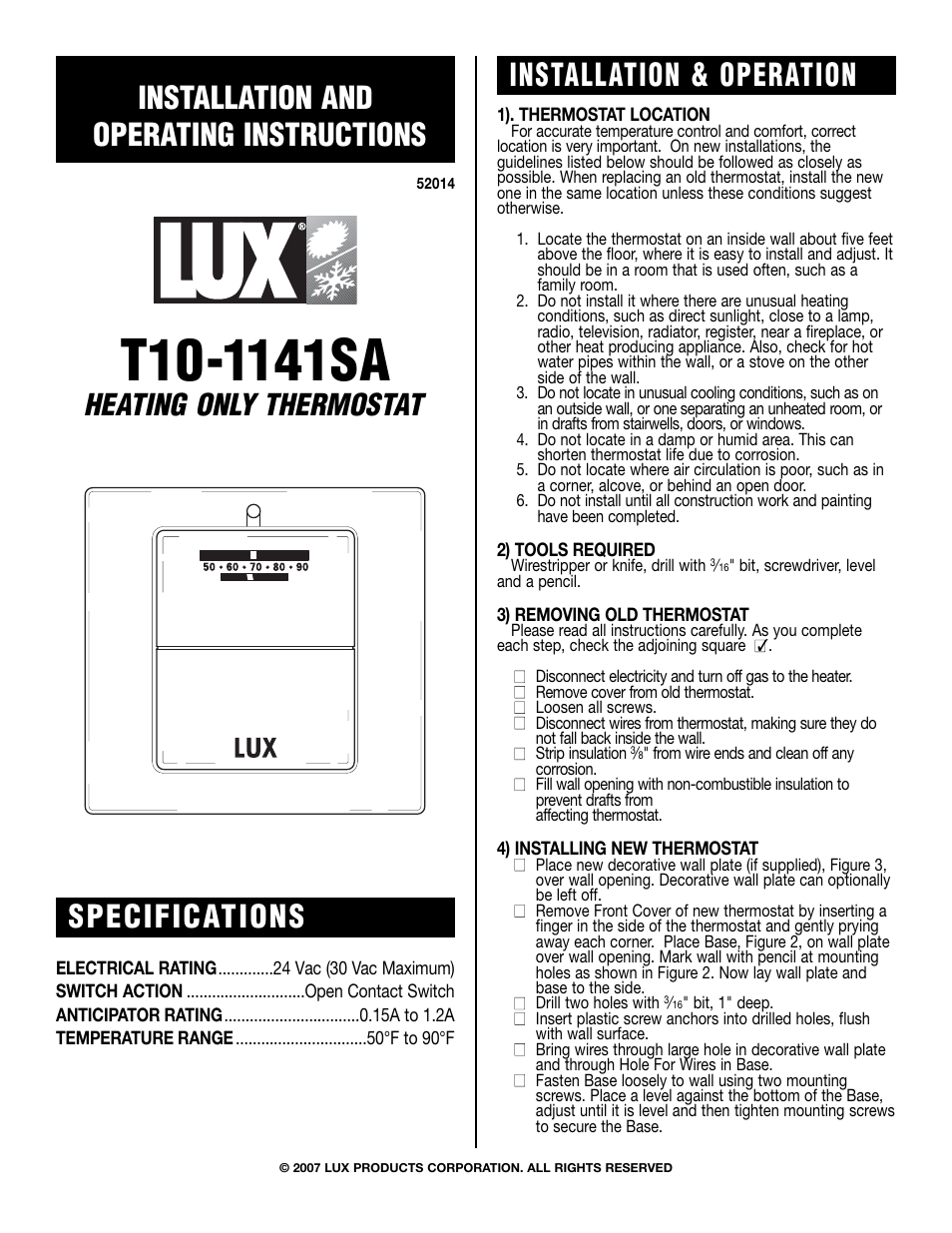 Lux Products T10-1141SA User Manual | 2 pages
