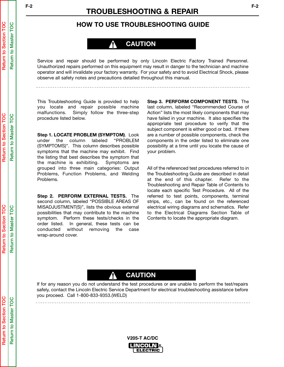Troubleshooting Repair How To Use Guide Caution Lincoln Electric Welder Wiring Diagram Invertec V205 T User Manual Page 38 109
