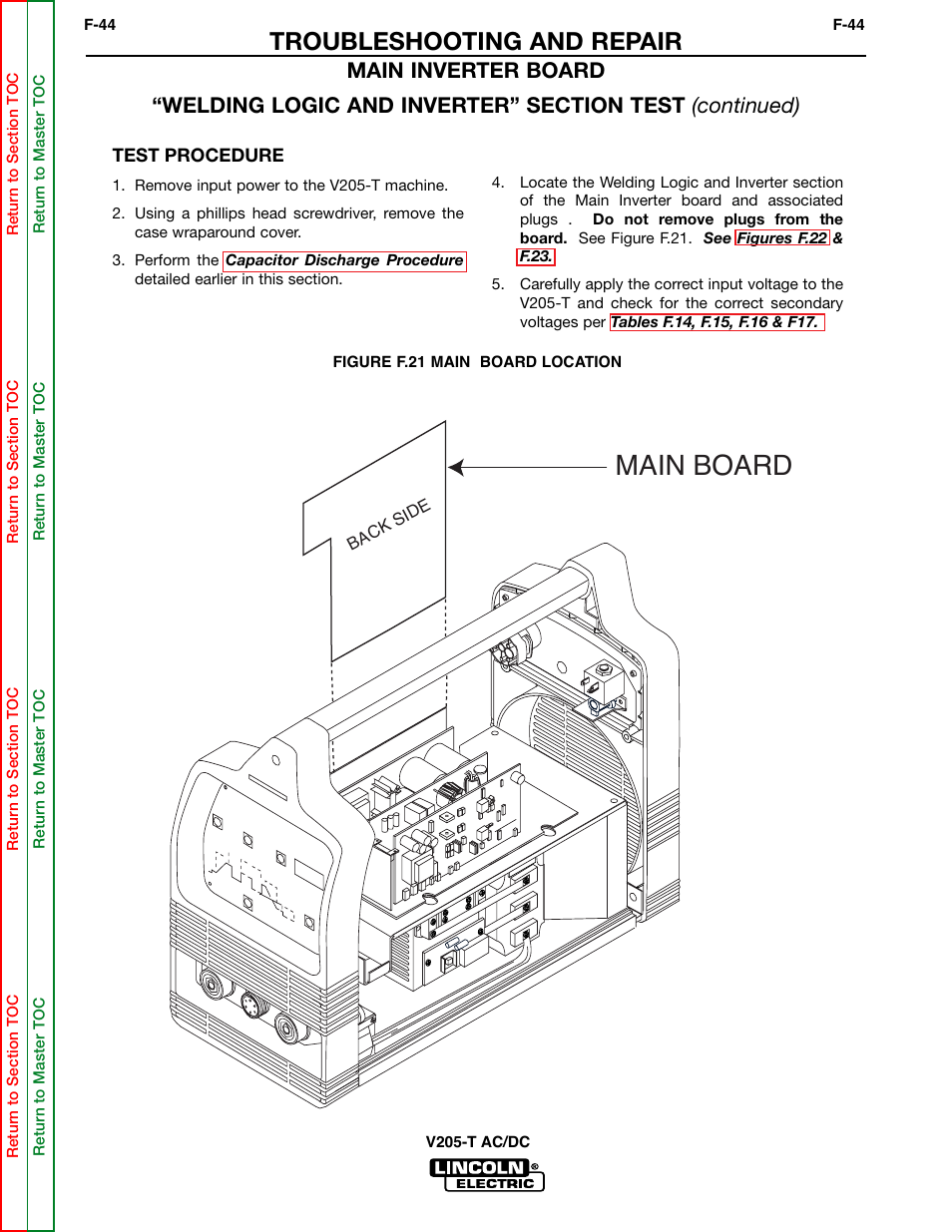 Main board, Troubleshooting and repair | Lincoln Electric Invertec V205-T  User Manual | Page 80 / 109