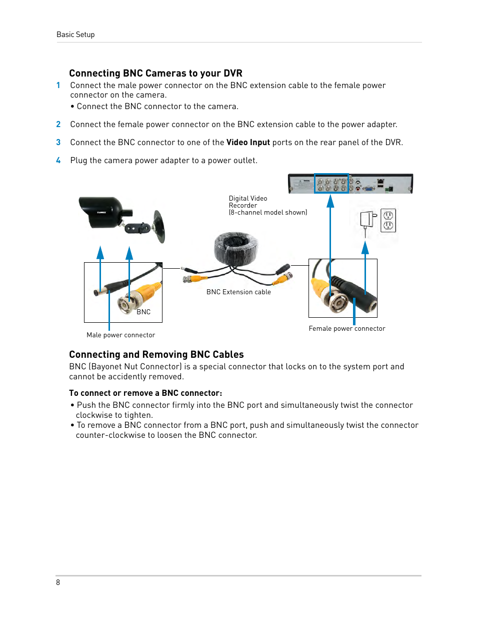 Connecting Bnc Cameras To Your Dvr And Removing Wiring Diagram Cables Lorex Technology Digital Video Surveillance Recorder Lh010 Eco Blackbox Series User