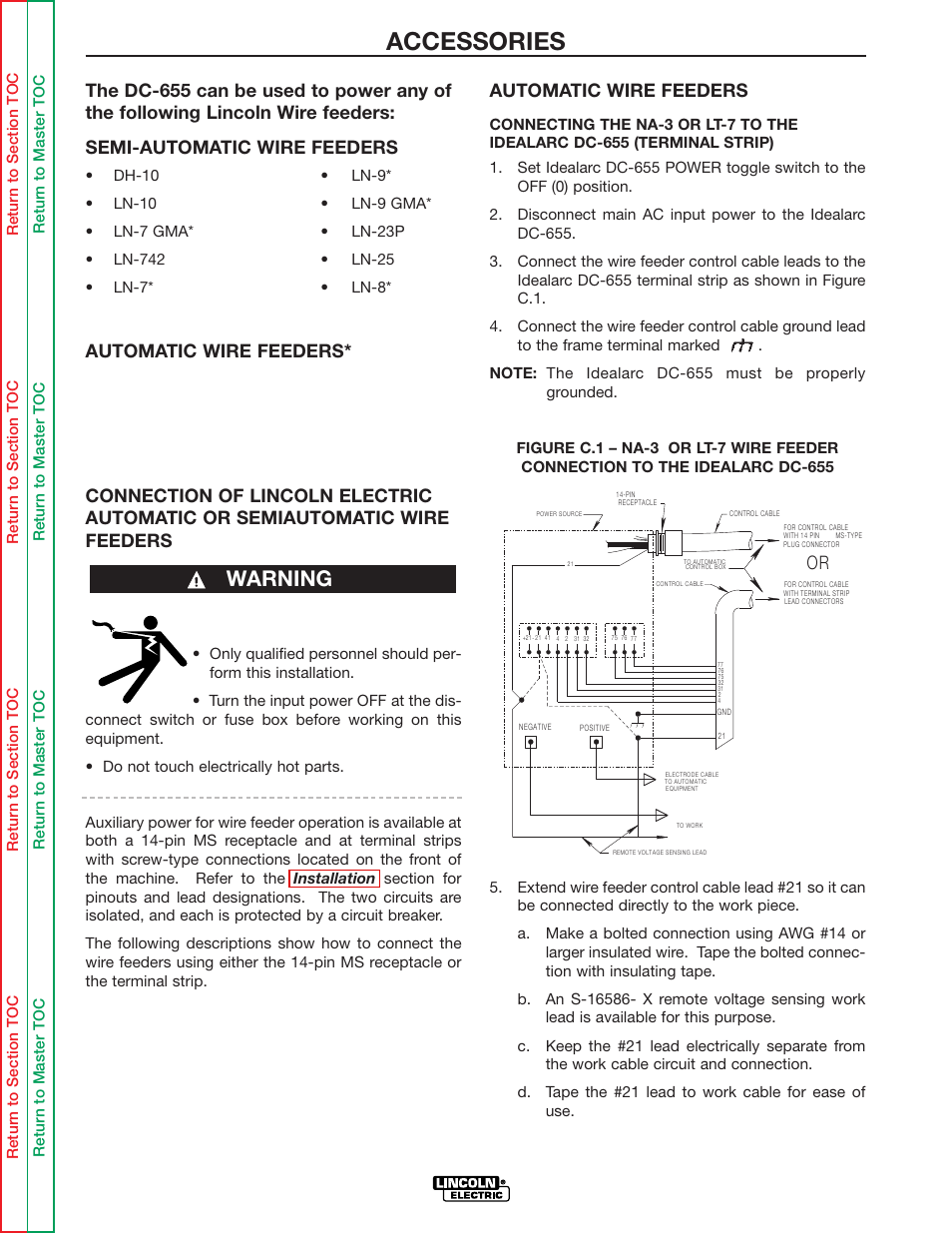 Accessories Warning Automatic Wire Feeders Lincoln Electric Fuse Box Terminal Connector Pin Idealarc Dc 655 User Manual Page 25 109