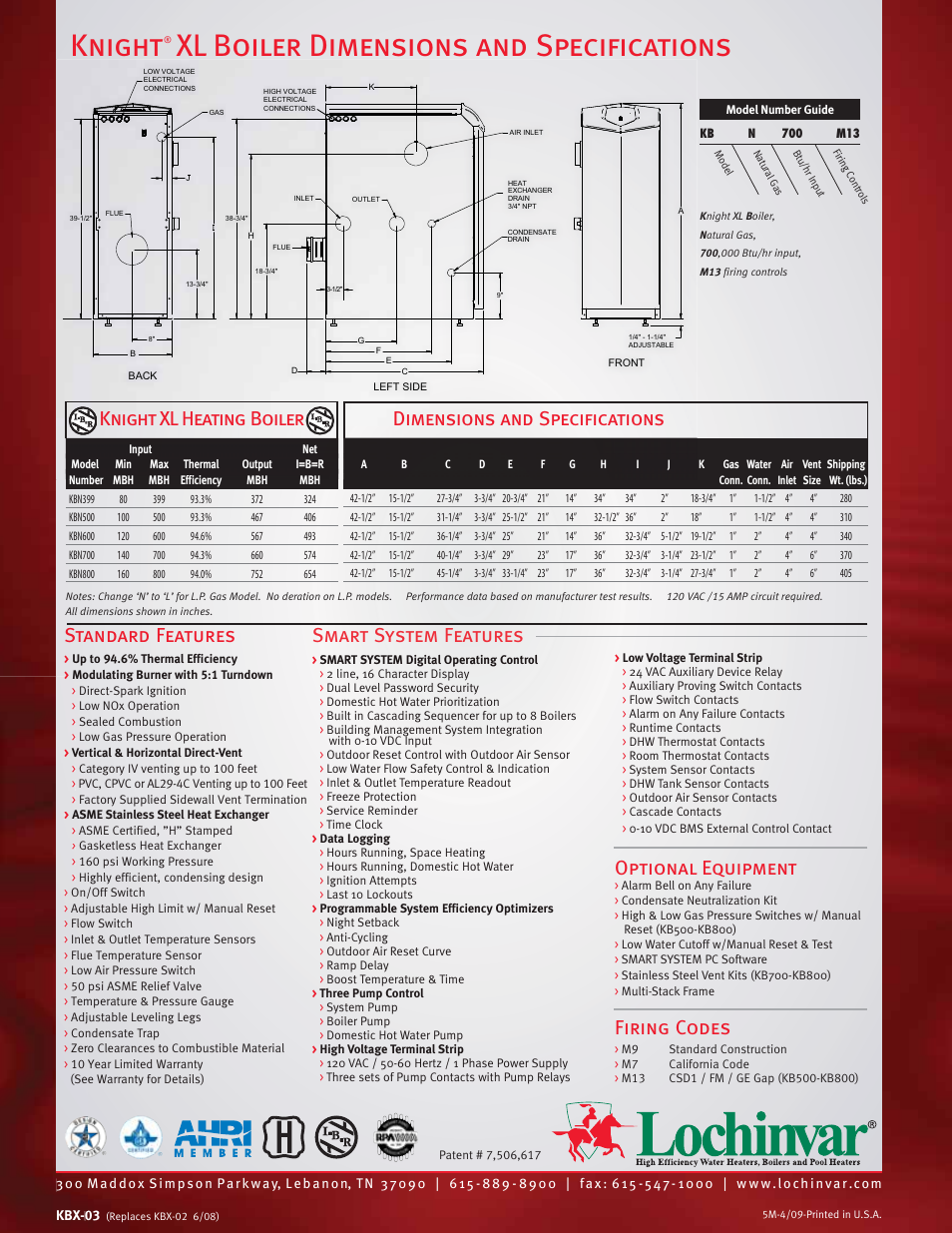 Knight Xl Boiler Dimensions And Specifications Optional