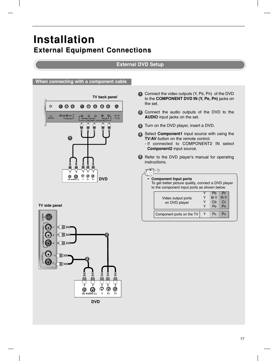 Installation, External equipment connections, External dvd setup | LG  23LX1RV User Manual | Page
