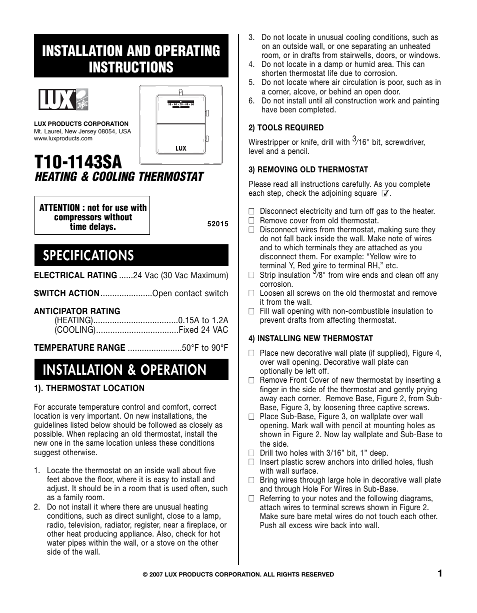Lux Products T10-1143SA User Manual | 4 pages