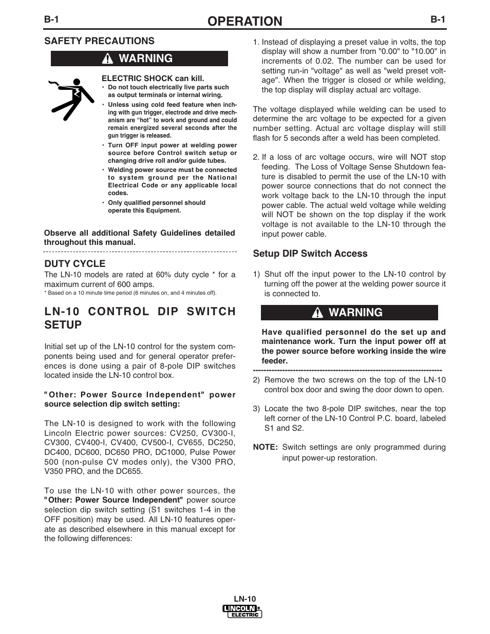 Operation, Ln-10 control dip switch setup, Warning | Lincoln