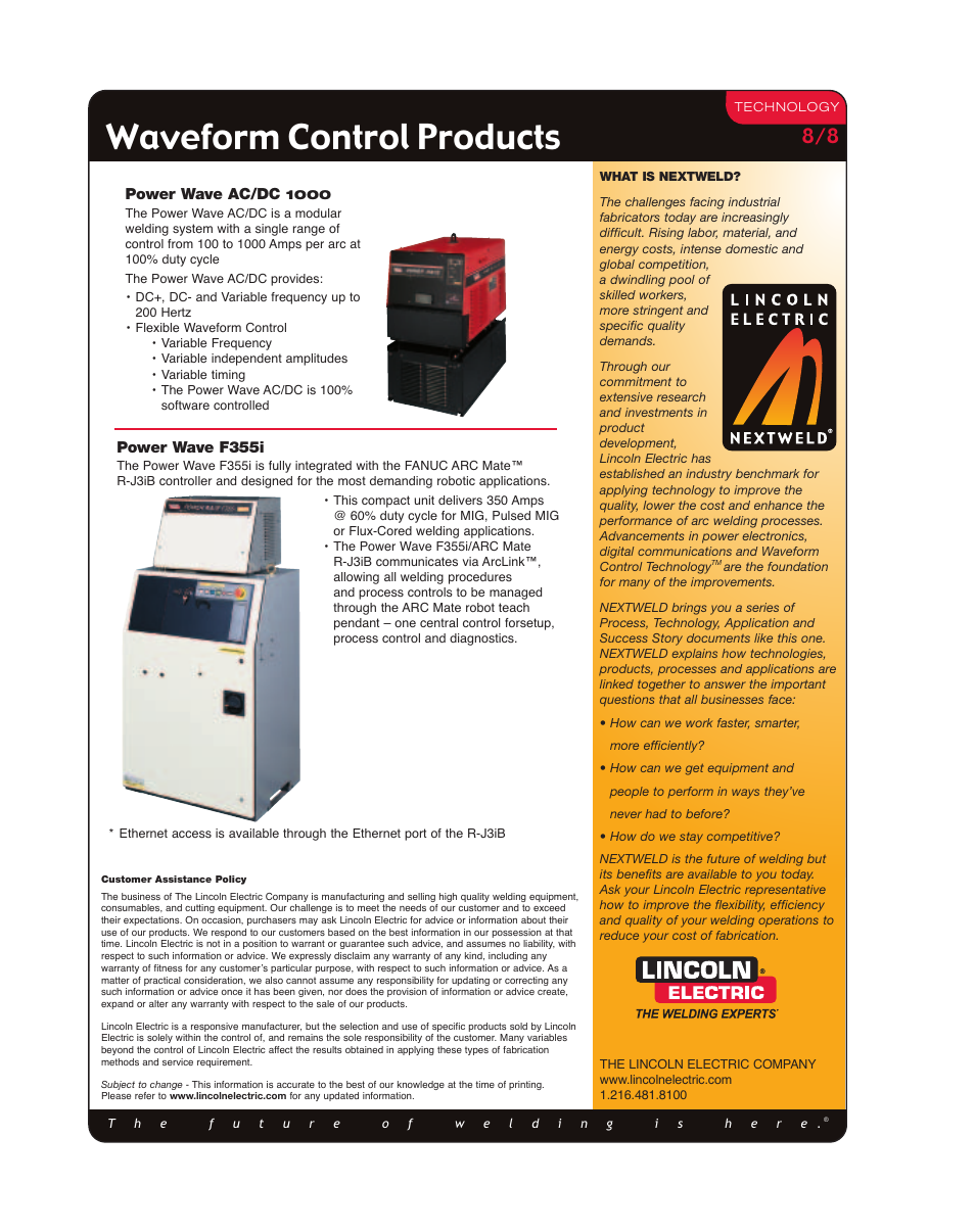 Waveform control products | Lincoln Electric METALUX M332 User Manual |  Page 8 / 8