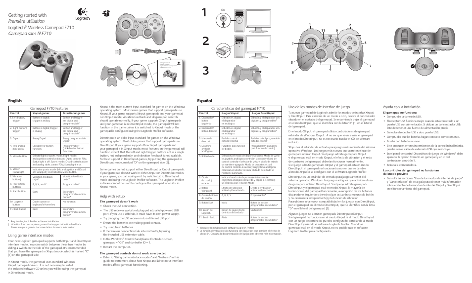 logitech wireless gamepad f710 940 000117 user manual 2 pages rh manualsdir com logitech wireless speaker manual logitech wireless keyboard k520 manuel