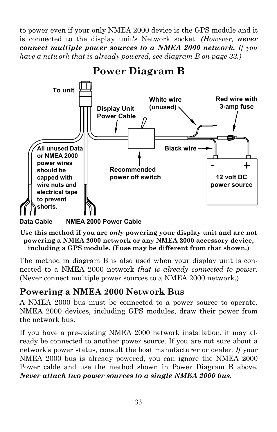 power diagram b, powering a nmea 2000 network bus | lowrance electronic  lms-520c user manual | page 43 / 252