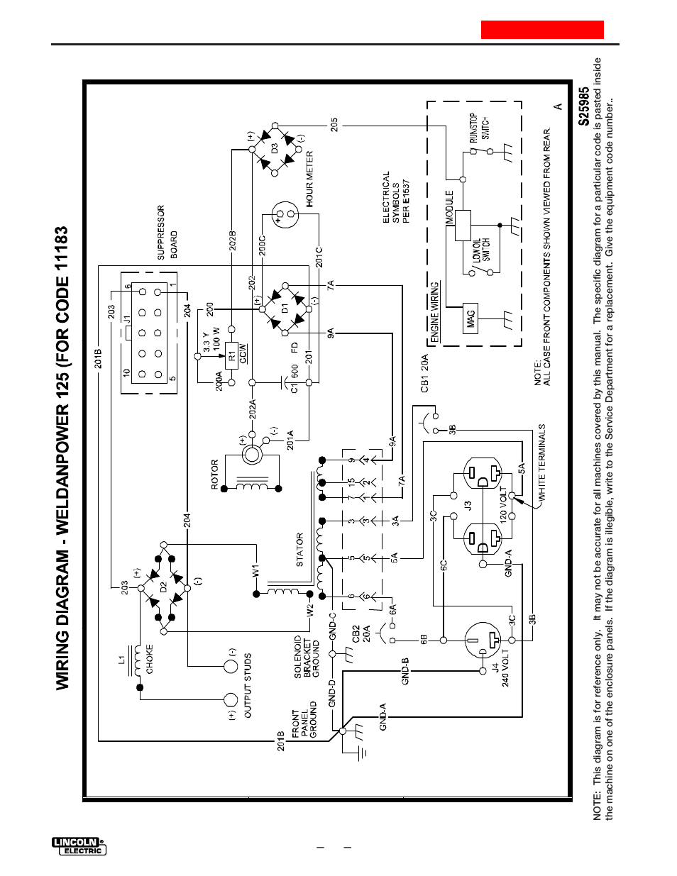 Wiring diagram | Lincoln Electric WELDANPOWER 125 IM530-C User Manual |  Page 33 /
