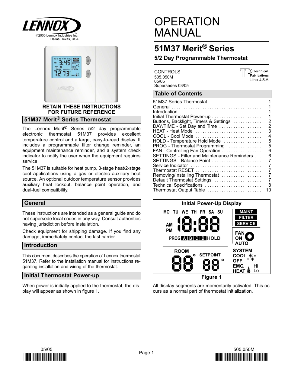 Lennox International Inc. 51M37 User Manual | 54 pages