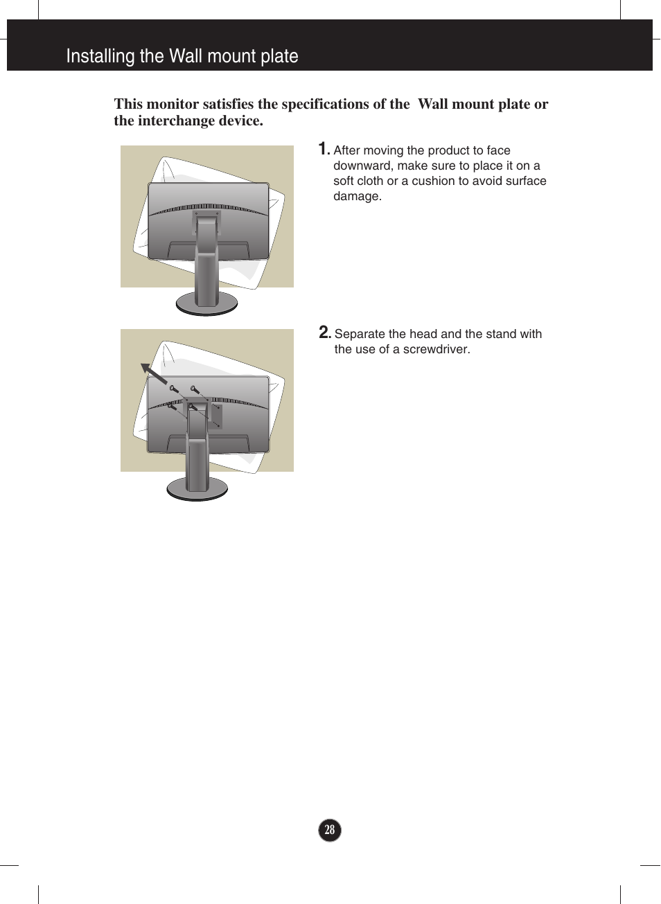 Installing the wall mount plate | LG lcd monitor ips231p User Manual | Page 29 / 31