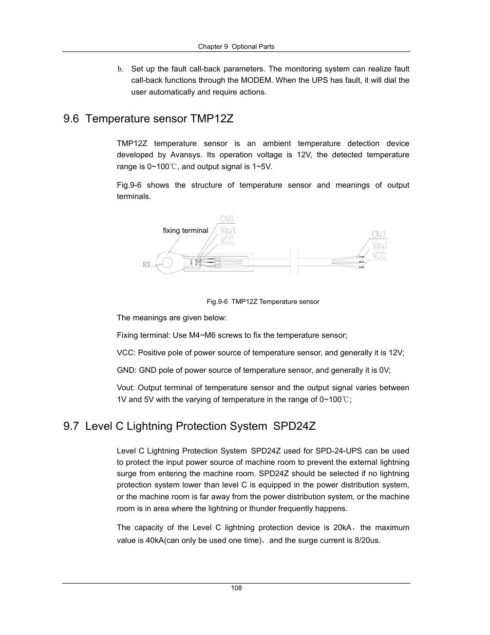 6 temperature sensor tmp12z, 7 level c lightning protection system