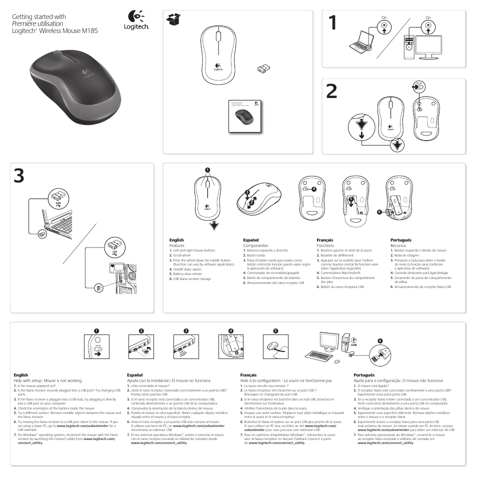 Logitech M185 User Manual | 2 pages