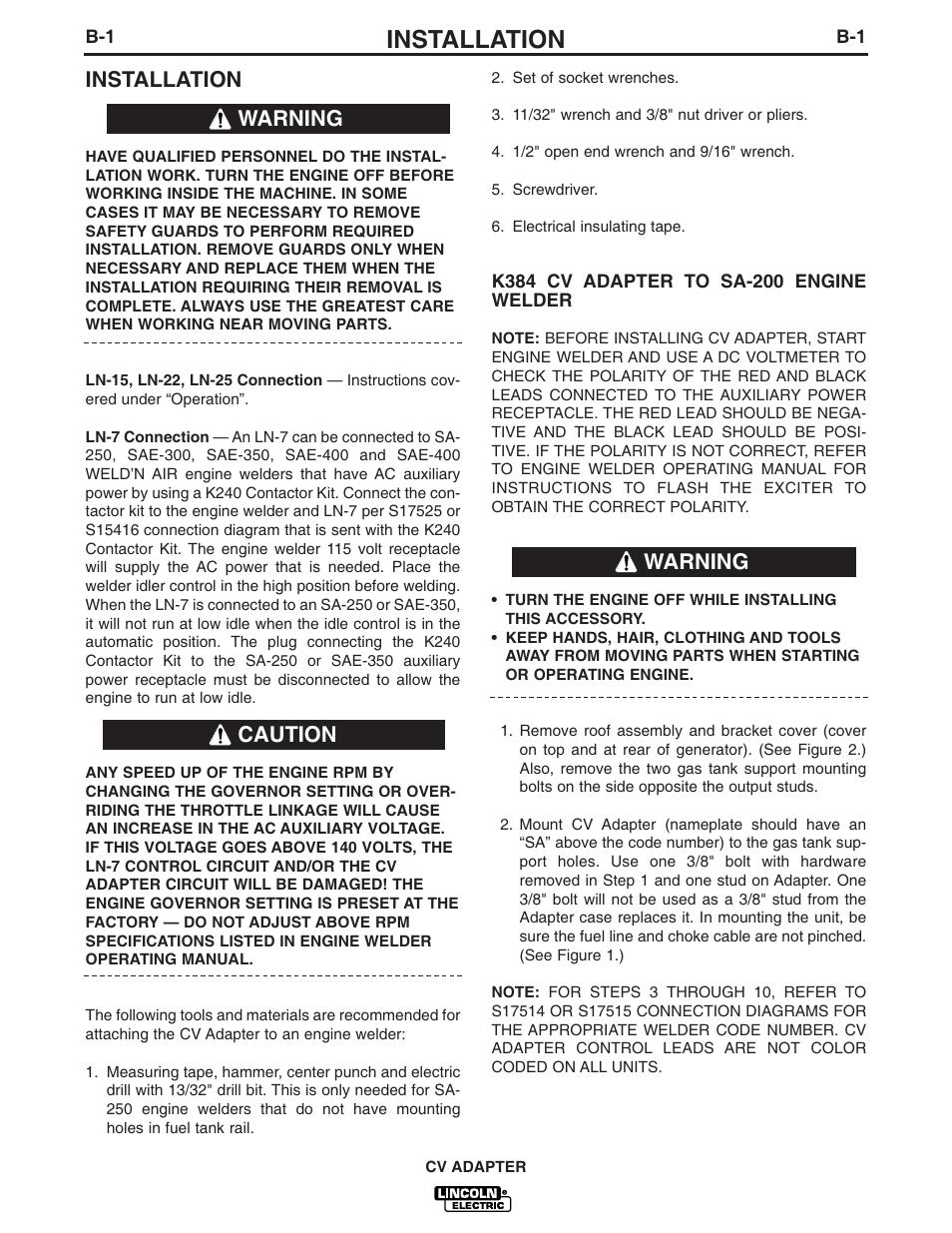 Installation, Warning caution warning | Lincoln Electric CV