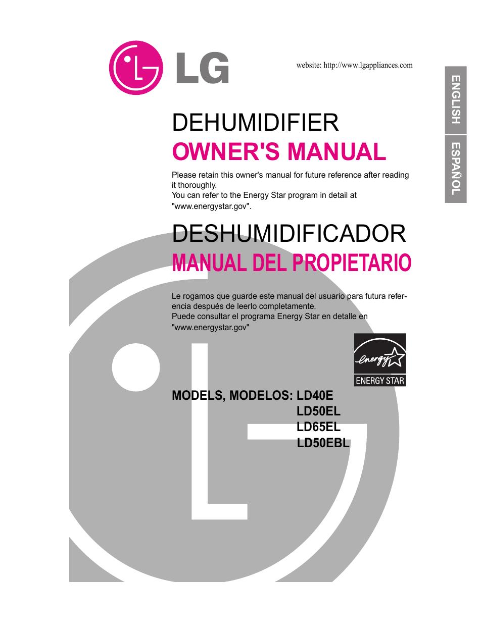 lg ld40e user manual 31 pages original mode rh manualsdir com LG Dehumidifier Recall Model Numbers LG LHD659EBL Appliances Dehumidifiers Manuals