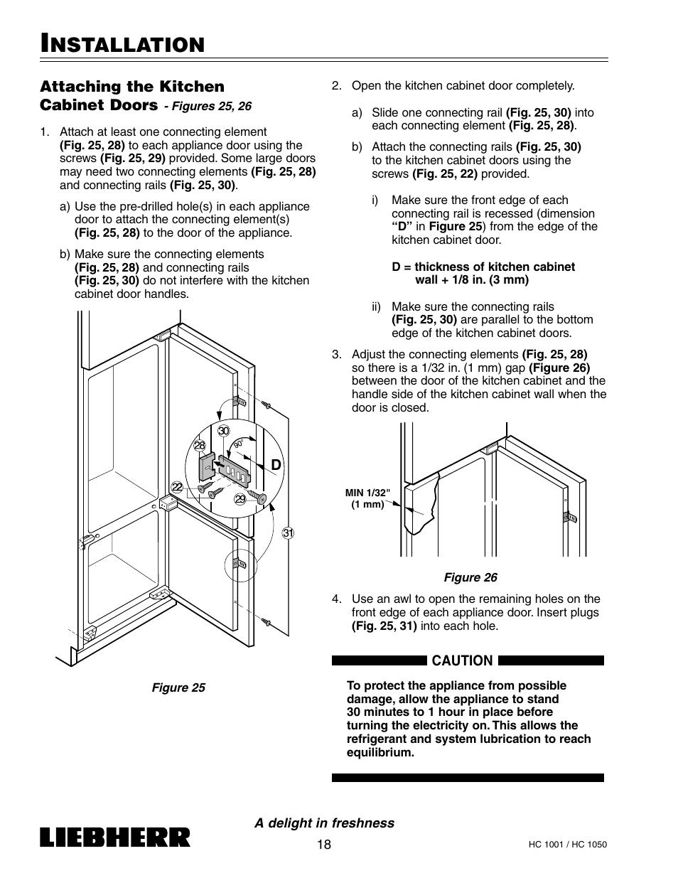 Nstallation, Attaching the kitchen cabinet doors | Liebherr HC1050