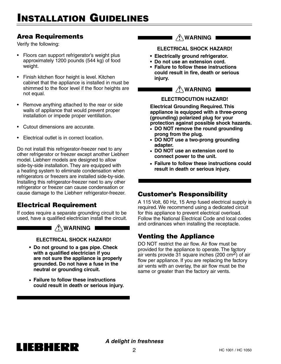 Nstallation, Uidelines | Liebherr HC1050 User Manual | Page