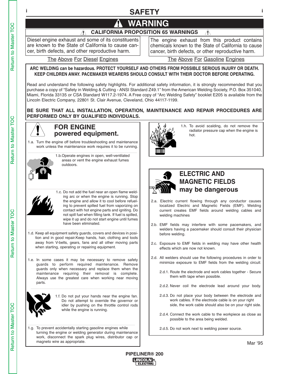 Safety, Info, Warning   Lincoln Electric PIPELINER 200 User Manual