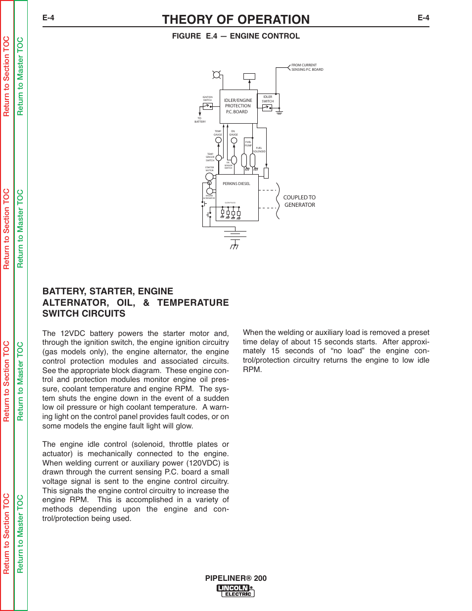 lincoln electric pipeliner 200 page66 theory of operation lincoln electric pipeliner 200 user manual