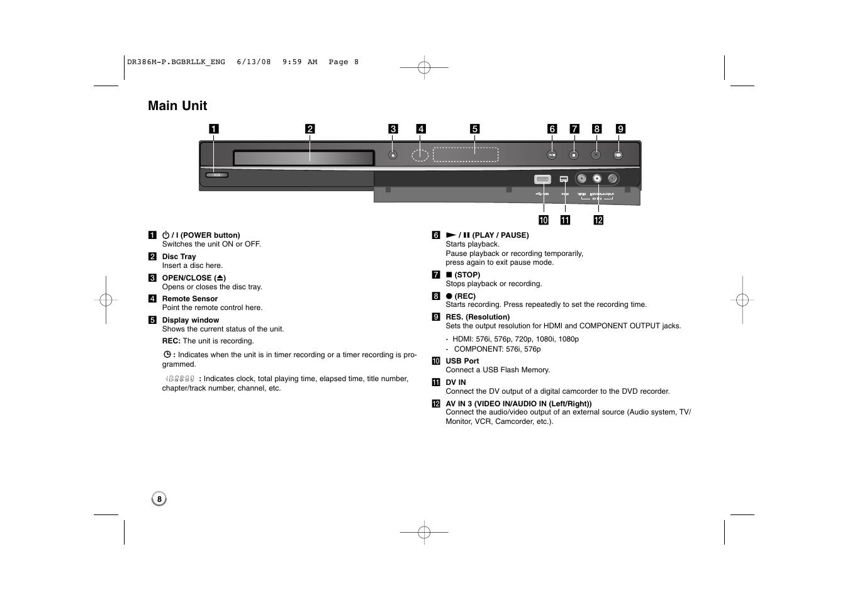 main unit lg drt389h user manual page 8 40 rh manualsdir com lg drt389h manuale italiano lg drt389h manuale italiano