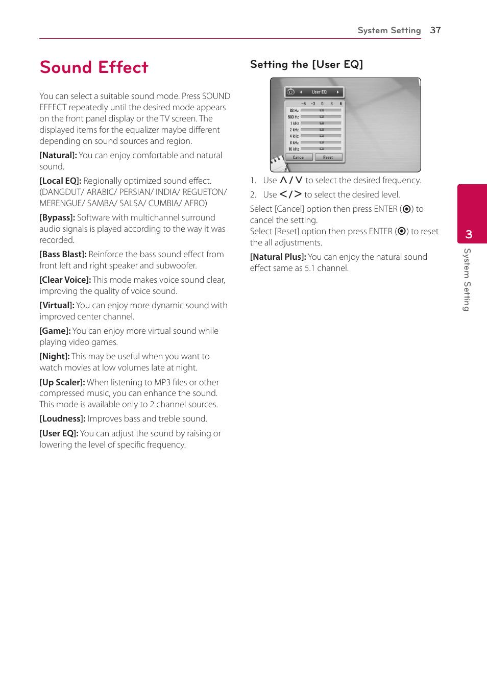 Sound effect, 37 sound effect   LG HB906TA User Manual