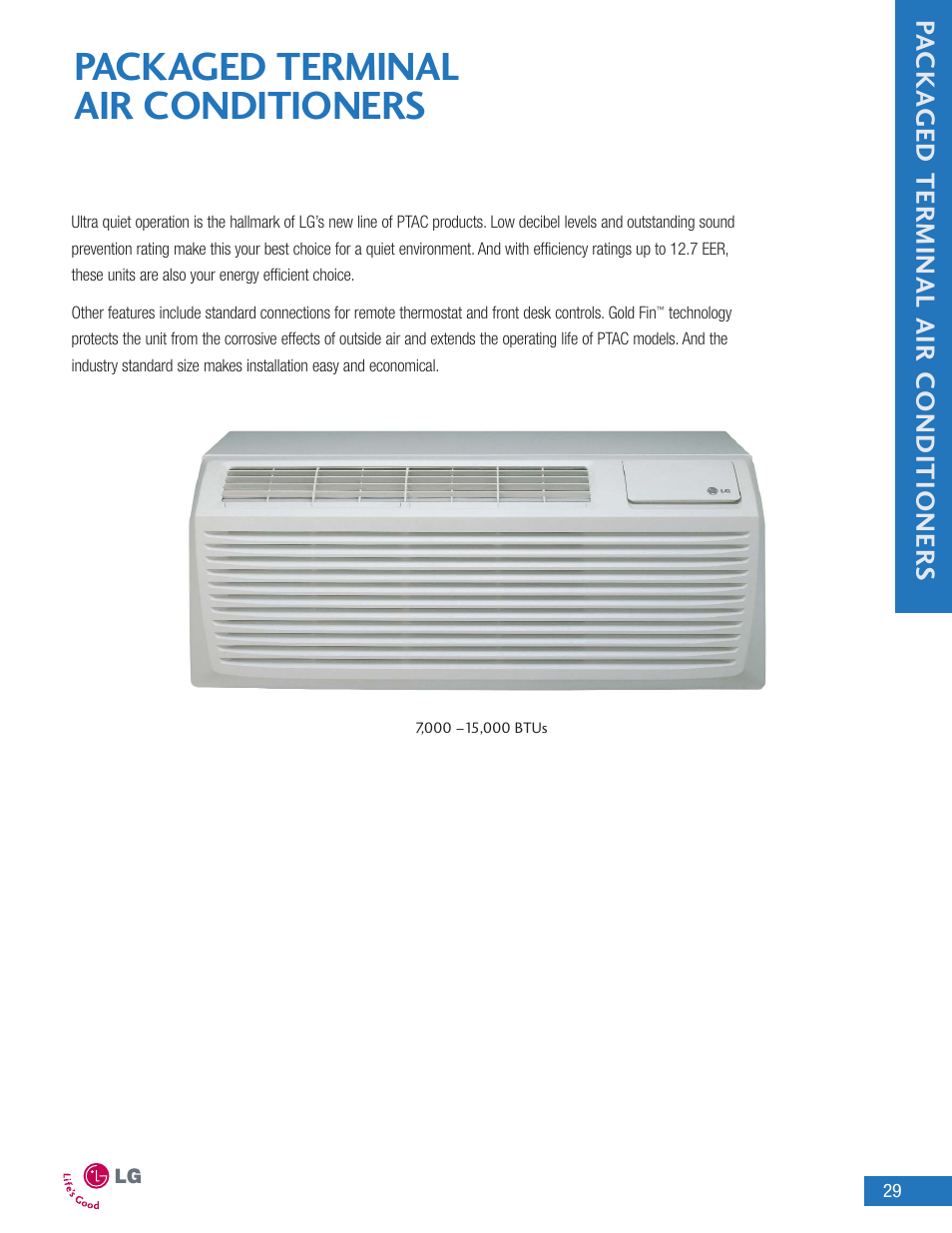 Packaged terminal air conditioners, Pa cka ged terminal air conditioner s |  LG LA090HP User
