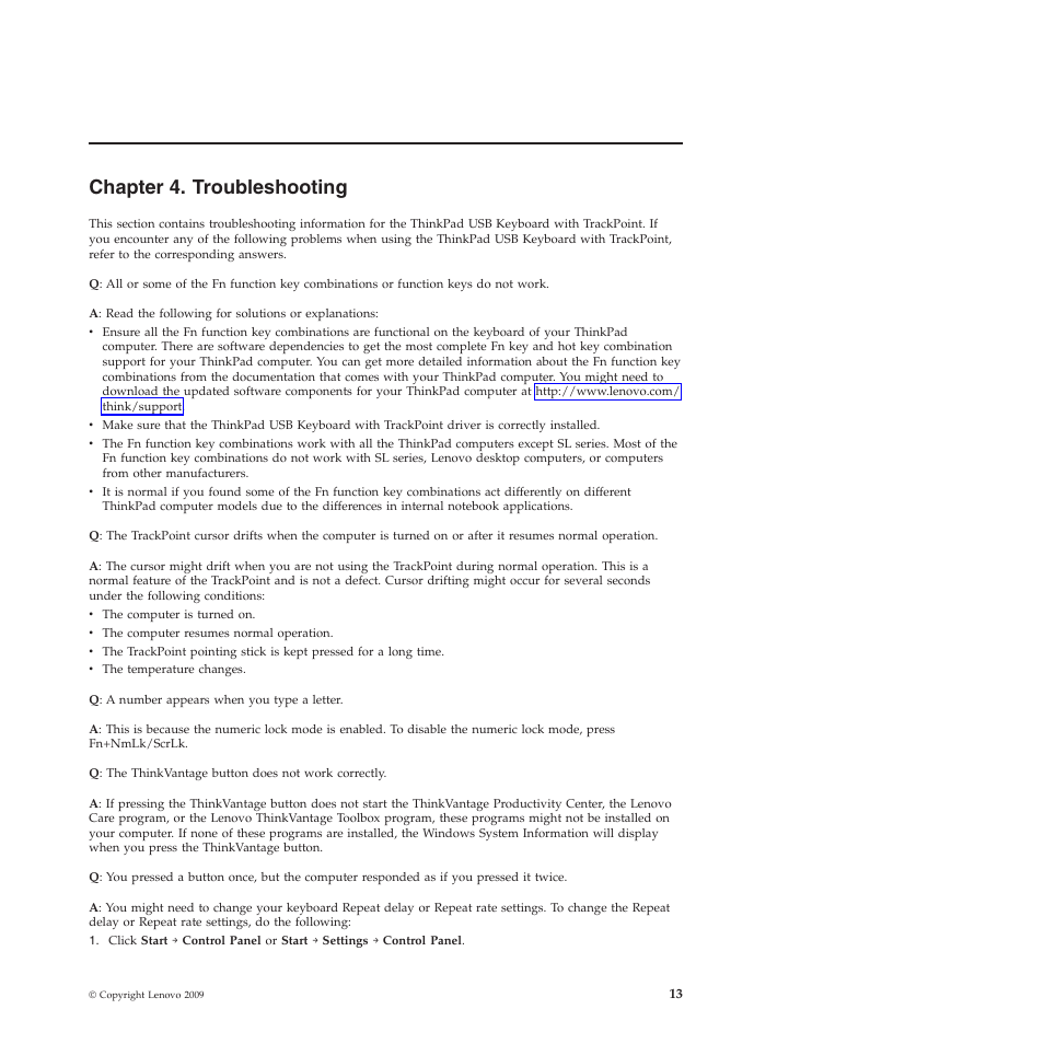 Chapter 4  troubleshooting | Lenovo SK-8855 User Manual | Page 19 / 44