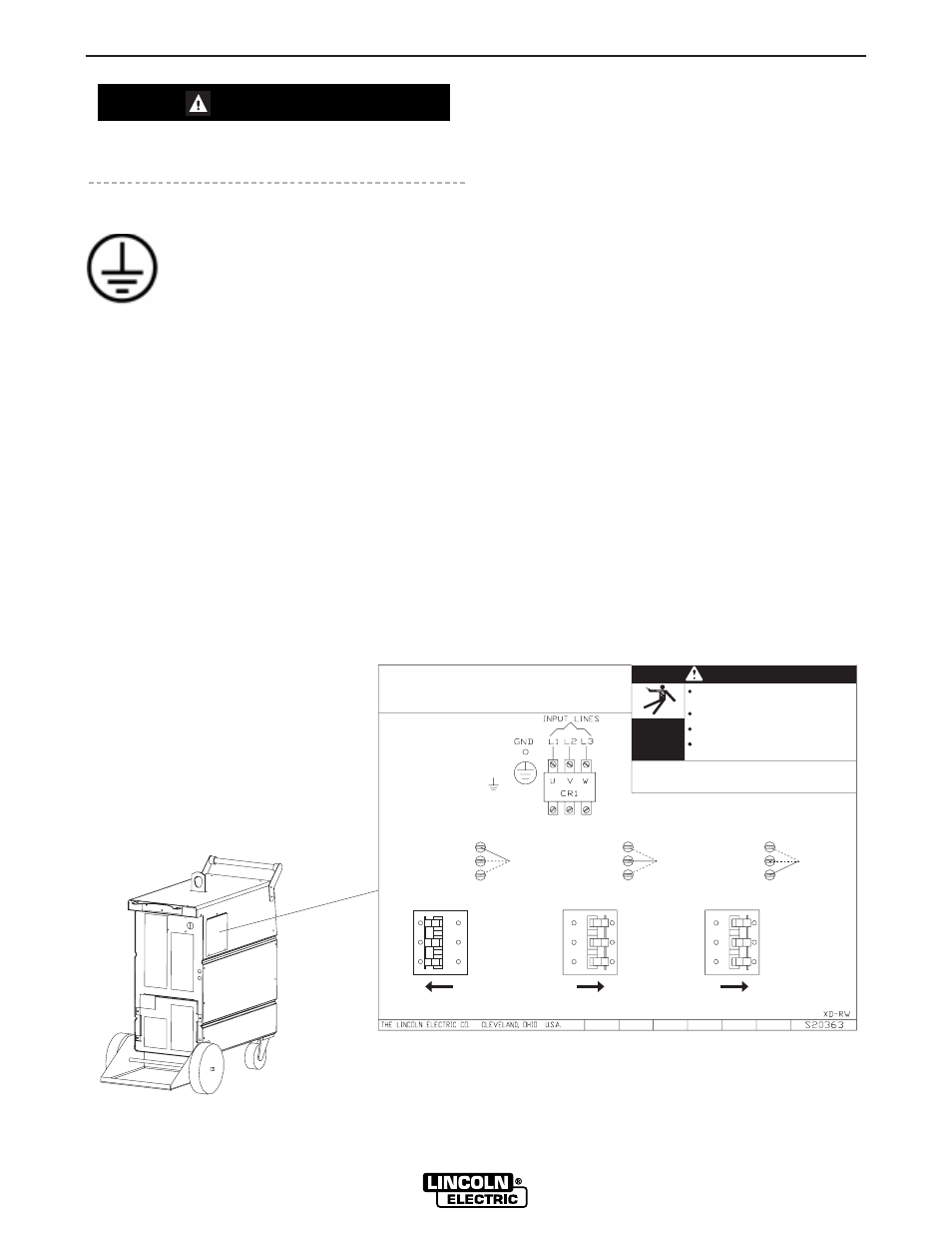 Installation Caution Ground Connections Lincoln Electric 460v To 230v Wiring Diagram Invertec Power Wave 450 10391 User Manual Page 10 53