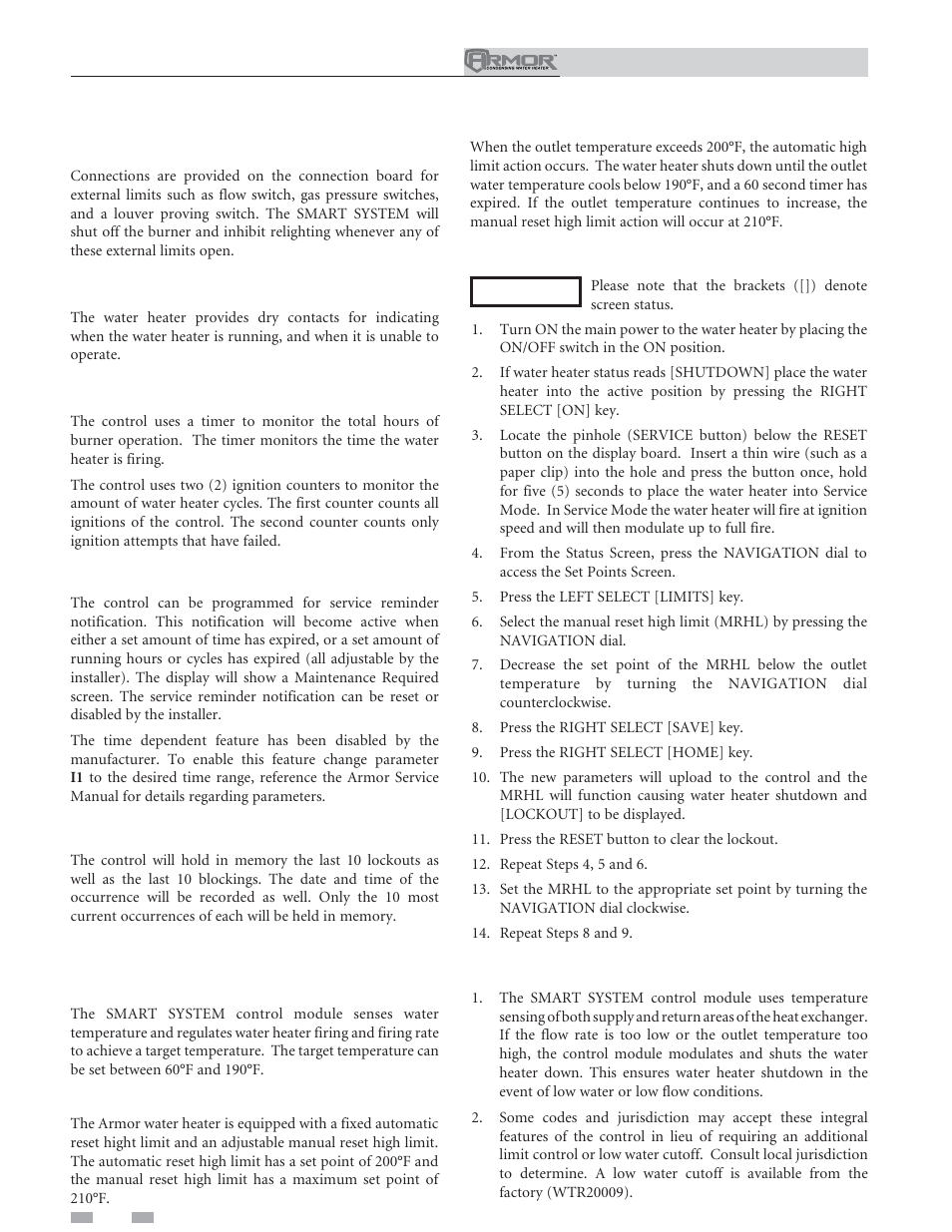 Operating information | Lochinvar ARMOR 151 User Manual | Page 60 / 76
