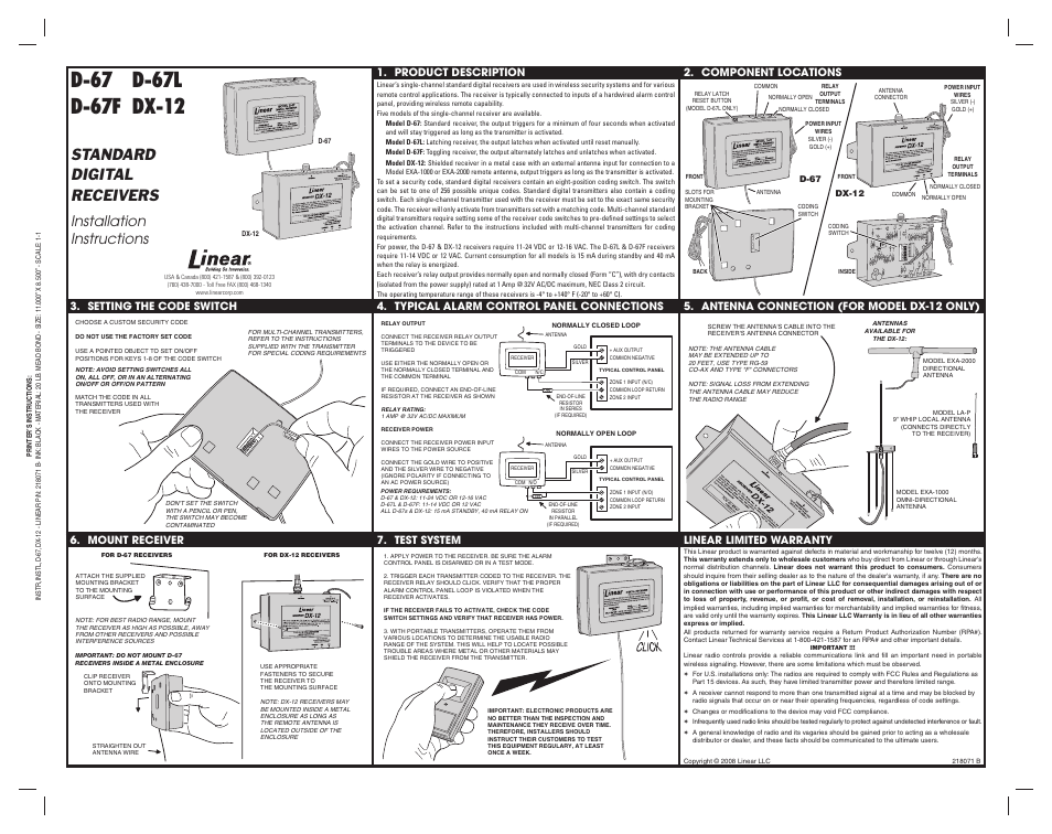 Linear D 67f User Manual 1 Page Also For D 67l Dx 12