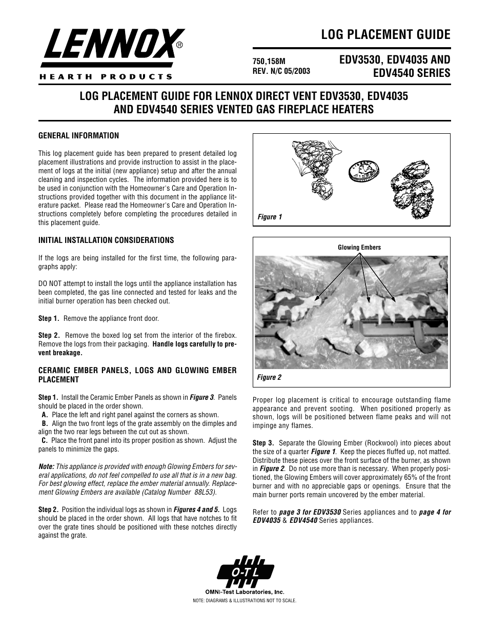 lennox hearth edv3530 series user manual 4 pages also for
