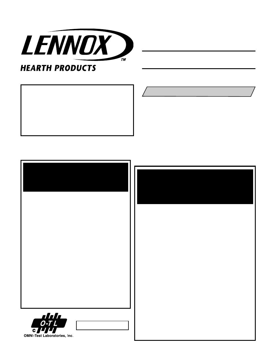 Lennox Hearth B Vent Elite LBV 3824MP H User Manual