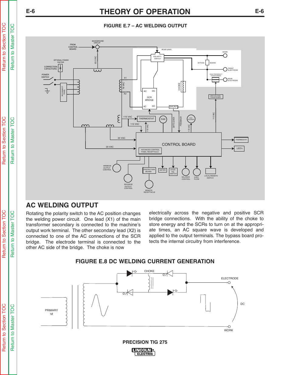 Lincoln Welder 275 S Wiring Diagram Block And Schematic Diagrams Sa 200 Theory Of Operation Ac Welding Output Figure E 8 Dc Rh Manualsdir Com